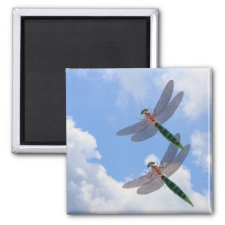 Dragonflies Blue Sky Clouds Nature Magnet