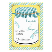 dragonflies blue yellow gingham mason jar wedding invites by mgdezigns