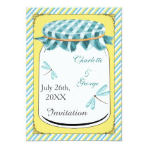 dragonflies blue yellow gingham mason jar invites
