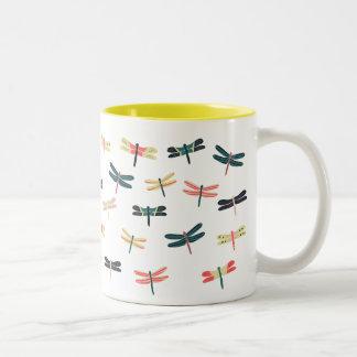Dragonflies by Origami Prints Two-Tone Coffee Mug