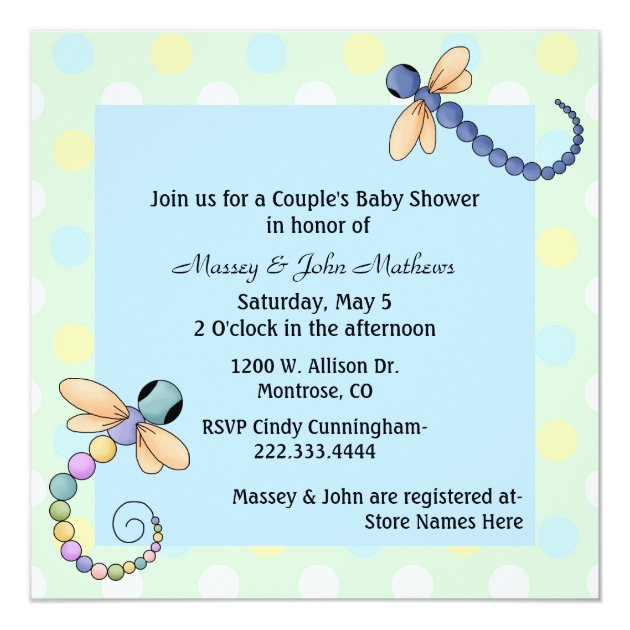 Dragonflies Couples Baby Shower Invitation