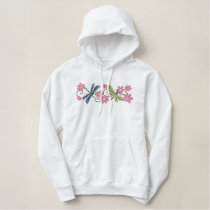 Dragonflies flowers embroidered pullover hoodie