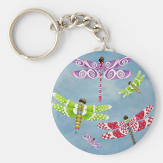 Dragonflies Fly Freely Basic Round Button Keychain