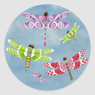 Dragonflies Fly Freely Classic Round Sticker