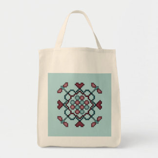 Dragonflies, Hearts and Circles Cross Stitch Bag