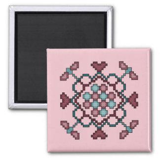 Dragonflies Hearts Circles Cross Stitch Magnet
