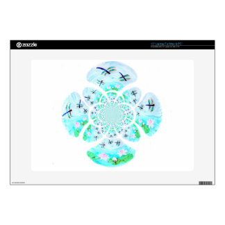"Dragonflies, Lily Flowers pattern 15"" Laptop Decal"