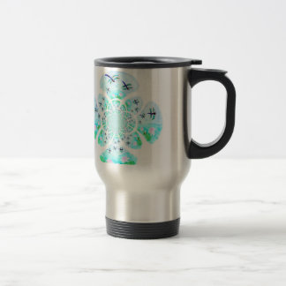 Dragonflies, Lily Flowers pattern 15 Oz Stainless Steel Travel Mug