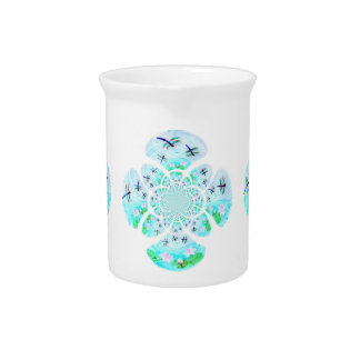 Dragonflies, Lily Flowers pattern Beverage Pitcher