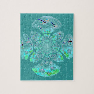 Dragonflies, Lily Flowers pattern Jigsaw Puzzle