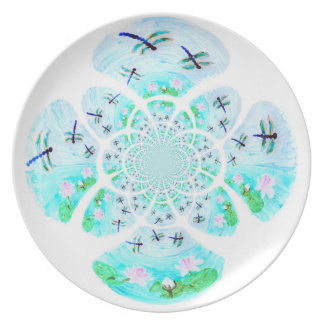 Dragonflies, Lily Flowers pattern Plates