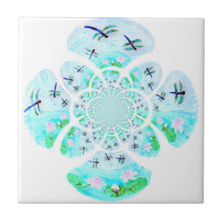 Dragonflies, Lily Flowers pattern Tile