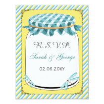 Dragonflies Mason Jar Yellow Aqua Wedding Card