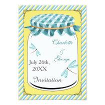 Dragonflies Mason Jar Yellow Aqua Wedding Card