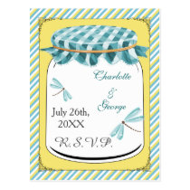 Dragonflies Mason Jar Yellow Aqua Wedding Postcard