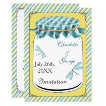 Dragonflies Mason Jar Yellow Country Wedding Card