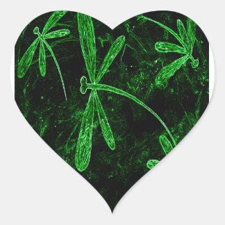 Dragonflies Neon Green Heart Sticker