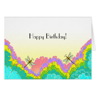 Dragonflies on a Fractal Background Happy Birthday Card