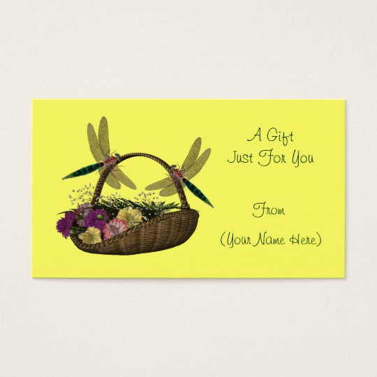 Dragonflies On Basket Personalized Gift Card Tag