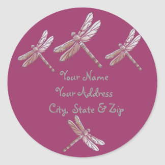 Dragonflies on Burgandy Classic Round Sticker