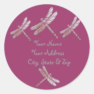 Dragonflies on Burgandy Round Stickers