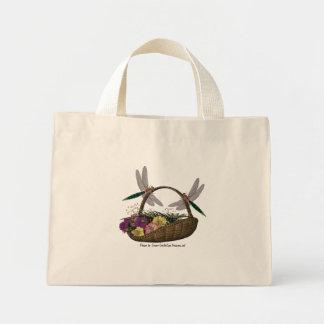 Dragonflies On Flower Basket Nature Tote Bag