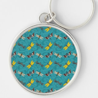 Dragonflies on Teal Background Keychain