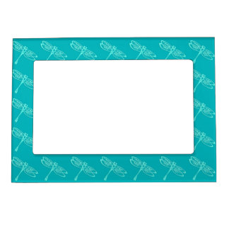 Dragonflies, pale aqua on turquoise magnetic photo frame