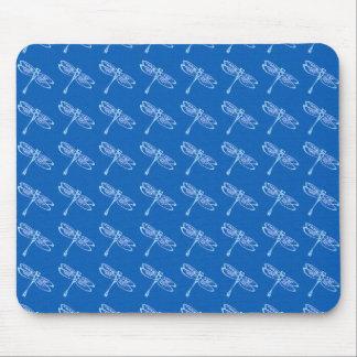Dragonflies, pale blue on denim blue mouse pad