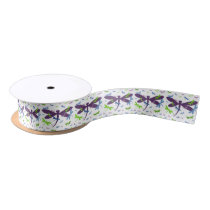 Dragonflies Pattern - Blue, Green, and Purple Satin Ribbon
