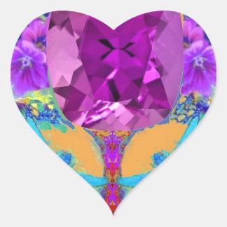 Dragonflies Purple Amethyst Gems Gifts by Sharles Heart Sticker