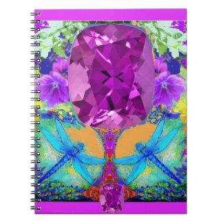 Dragonflies Purple Amethyst Gems Gifts by Sharles Notebook