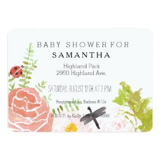 Dragonflies Roses Watercolor Garden baby shower Card