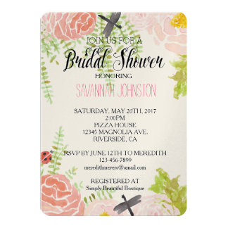 Dragonflies Roses Watercolor Garden bridal shower Card