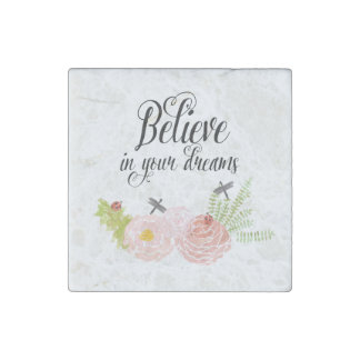 Dragonflies Roses Watercolor Garden Floral Stone Magnet