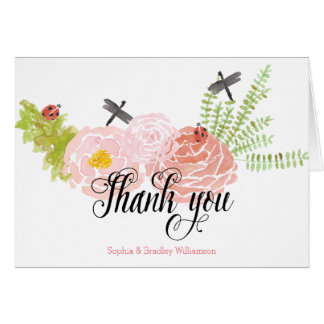 Dragonflies Roses Watercolor Garden Thank you Stationery Note Card