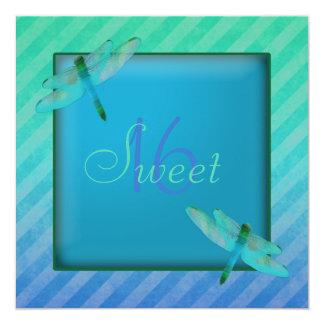 "Dragonflies & Stripes Sweet Sixteen Invitation 5.25"" Square Invitation Card"
