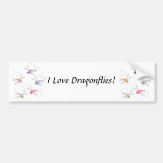 Dragonflies Whimsical Cartoon Art Car Bumper Sticker