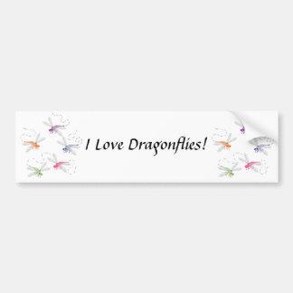 Dragonflies Whimsical Cartoon Art Car Bumper Sticker
