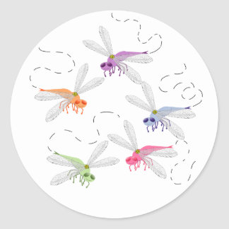 Dragonflies Whimsical Cartoon Art Classic Round Sticker