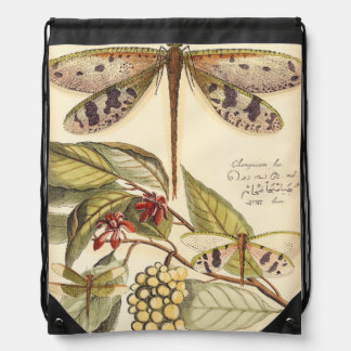 Dragonflies with Leaves and Fruit Drawstring Bag
