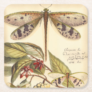 Dragonflies with Leaves and Fruit Square Paper Coaster