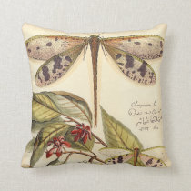 Dragonflies with Leaves and Fruit Throw Pillow