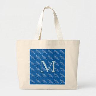 Dragonflies with monogram on denim blue large tote bag