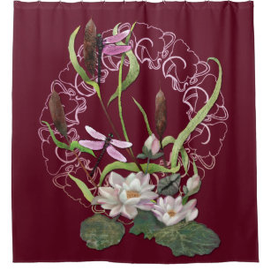 Dragonflies With Waterlilies And Cattails Burgundy Shower Curtain