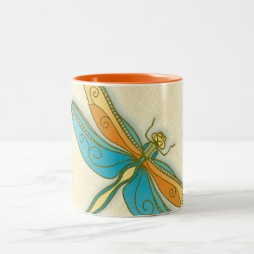 Coffee Themed Dragonfly 11 oz Two-Tone Mug