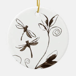 Dragonfly Abstract Ceramic Ornament