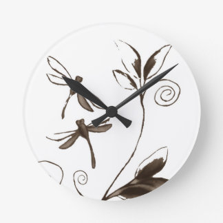 Dragonfly Abstract Round Clock