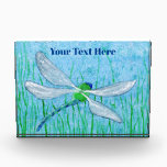 """Dragonfly Acrylic Award<br><div class=""""desc"""">A color pencil ACEO of a green and blue dragonfly scanning the grasses for prey.</div>"""