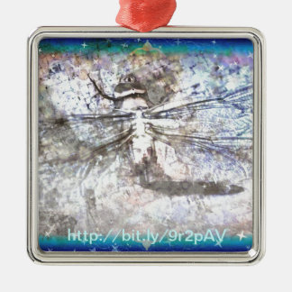 Dragonfly Among the Stars Metal Ornament